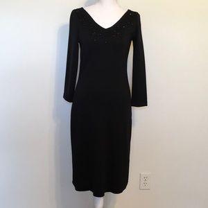 Isaac Mizrahi Blk BodyCon Knit Sheath Midi Dress
